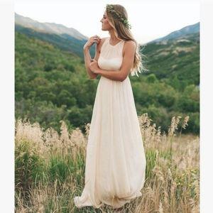 J. Crew Petite Cream Megan Long Silk Dress Size 0